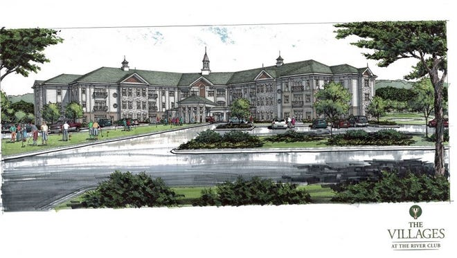 Artist's rendering of the soon-to-be-completed Villages at the River Club senior living community in Clarksville.