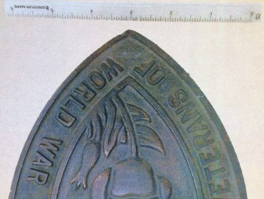Missing plaque from Arizona's World War I monument.