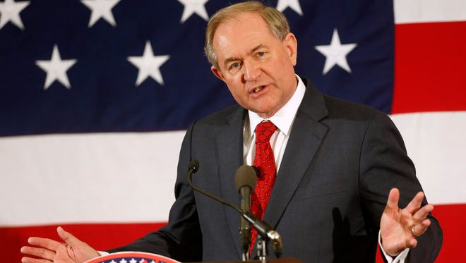 Former Virginia governor Jim Gilmore speaks at the Republican Leadership Summit on April 17, 2015, in Nashua, N.H.