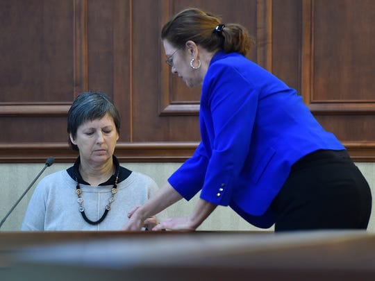 Attorney Mary Beth Peranteau questions Nancy Aten of the Friends of the Sturgeon Bay Public Waterfront on Thursday during the afternoon session in Door County Circuit Court in Sturgeon Bay.