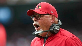 Nov 19, 2017: Arizona Cardinals head coach Bruce Arians reacts after a play during the third quarter against the Houston Texans at NRG Stadium.