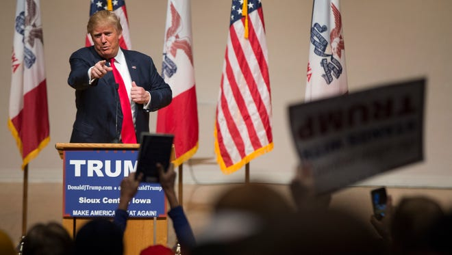 Republican presidential candidate Donald Trump speaks at a campaign rally at Dordt College, on Saturday, Jan. 23, 2016, in Sioux Center, Iowa.