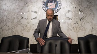 Chairman Chuck Grassley arrives for a Senate Judiciary Committee hearing on July 27, 2017.