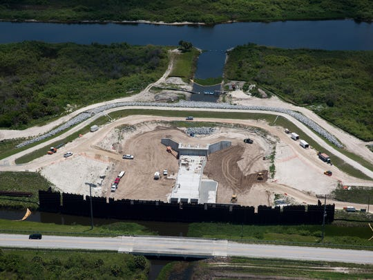 A birds-eye view of construction along the Caloosahatchee River near the West Basin Storage Reservoir Tuesday, May 9, 2017.
