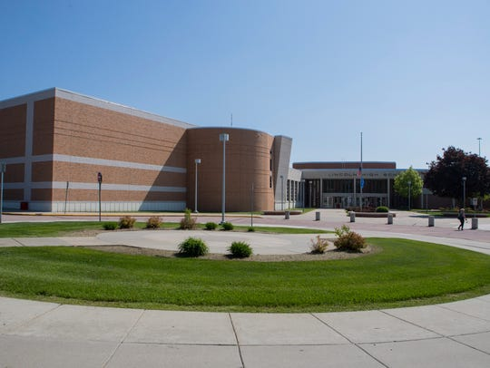 Lincoln High School building mug in Sioux Falls, S.D.