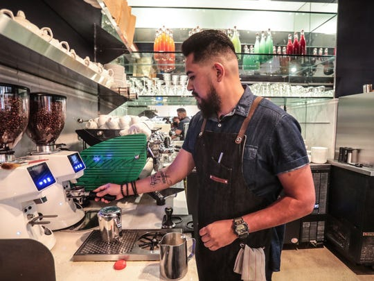 Barista Steve Garcia at work in Palm Desert on Friday, August 3, 2018. The Coachella native hopes to bring specialty coffee to the eastern Coachella Valley with his new shop Sixth Street Coffee to be located in the City of Coachella's new library.