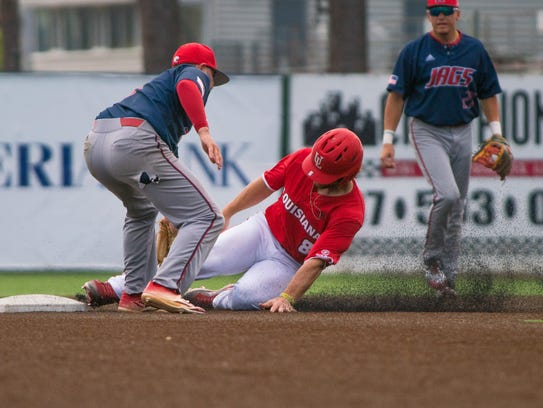 UL's Zach Lafleur attempts to steal second base as