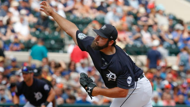 Mar 12, 2017; Lakeland, FL, USA; Tigers starting pitcher Michael Fulmer throws a pitch during the first inning against the Mets at Joker Marchant Stadium.