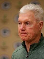 Green Bay Packers GM Ted Thompson speaks to the media about the team's first-round pick of Kenny Clark at Lambeau Field on April 28,  2016.