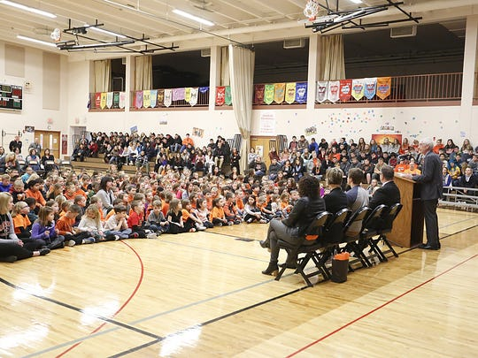 State Superintendent of Public Instruction Tony Evers gives a talk to the Oakfield School District at an assembly which celebrated Oakfield as significantly exceeding expectations for the 2016-2017 school year. Doug Raflik/USA TODAY NETWORK-Wisconsin
