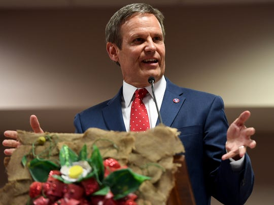 Tennessee Gubernatorial candidate Bill Lee speaks to guest at the 8st Annual West Tennessee Strawberry Festival's Governor's Luncheon, Friday, May 11.