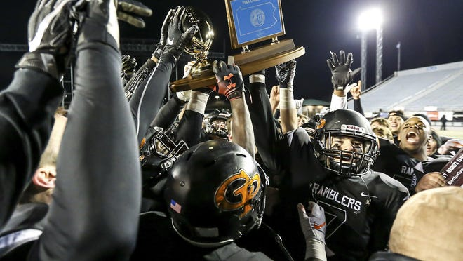 Cathedral Prep celebrates their win against Imhotep Charter in the PIAA Class 4A football championship at Hersheypark Stadium in Hershey on Dec. 6, 2018. The Ramblers defeated the Panthers 38-7.