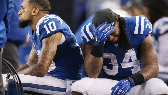 Colts running back Trent Richardson (right) is inactive for today's playoff game.