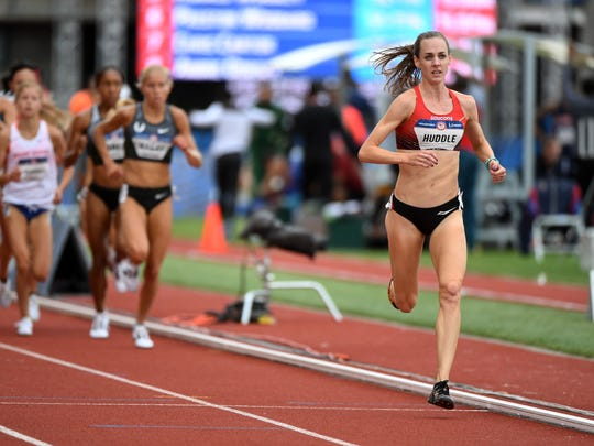 Molly Huddle (right) competes during the women's 5000m first round heats in the 2016 U.S. Olympic track and field team trials at Hayward Field.