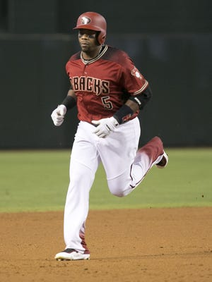 Diamondbacks outfielder Rickie Weeks Jr. runs the bases on the home run during the second inning of the MLB game against the Dodgers at Chase Field in Phoenix on Wednesday, June 15, 2016.