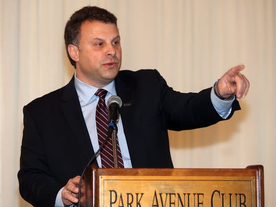 Anthony Russo, President of Commerce and Industry Association of NJ speaks during the inaugural NJ State-of-the-State Manufacturing event attended by New JerseyÕs leading manufacturing business executives and elected state officials at the  Park Avenue Club in Florham Park.  March 31, 2017,  Florham Park, NJ