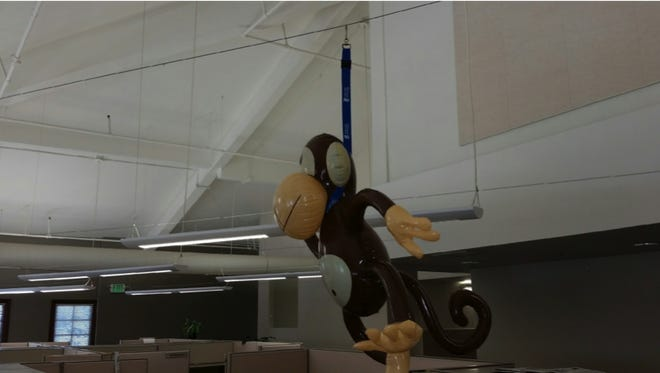 This monkey doll suspended over a work cubicle triggered an allegation of racism at the Gold Coast Health Plan.
