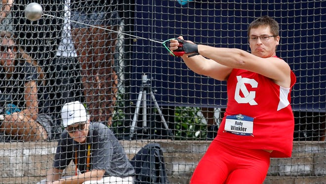 Cornell University's Rudy Winkler competes in the hammer throw at the 2016 NCAA outdoor track and field championships in Eugene, Oregon. Winkler won the event at the 2017 championships Wednesday.