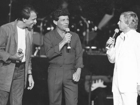 Philadelphia natives Fabian Forte (left to right), Frankie Avalon and Bobby Rydell are shown on July 11, 1985, at the Garden State Arts Center (as it was then named) in Holmdel.