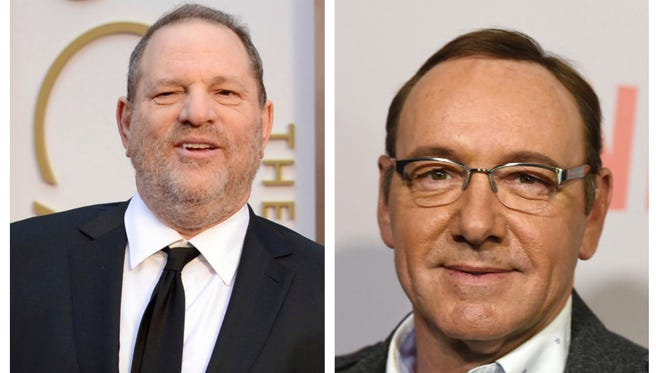 Harvey Weinstein in March 2014. Kevin Spacey in April 2015.
