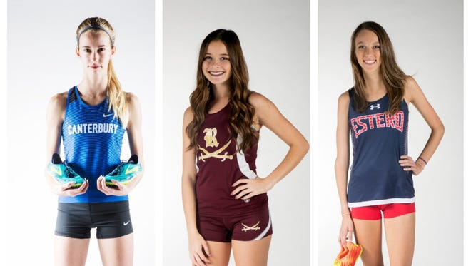 The News-Press All-Area Girls Cross Country Runner of the Year finalists are (from left) Jessica Edwards, Chelsey Oliver and Alayna Goll.