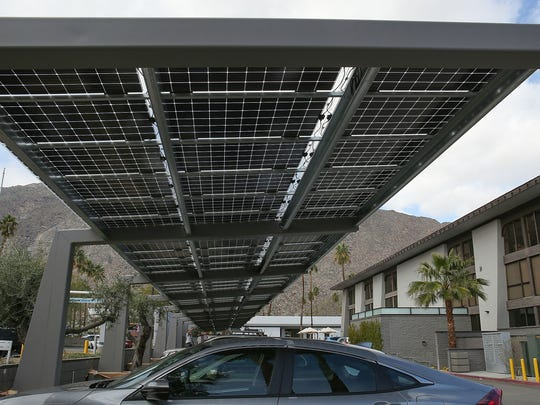 A solar shade structure installed by Hot Purple Energy