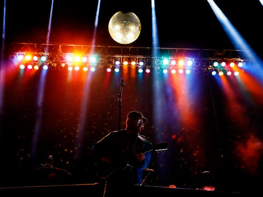 Cake lead singer John McCrea performs on the River Stage Friday night at the Beale Street Music Festival in Tom Lee Park.
