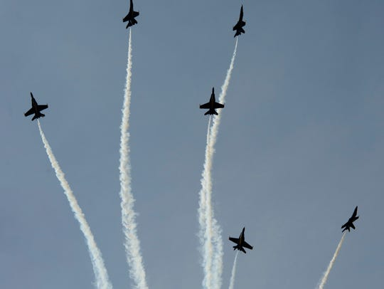 The Blue Angels perform during the 2014 Vero Beach
