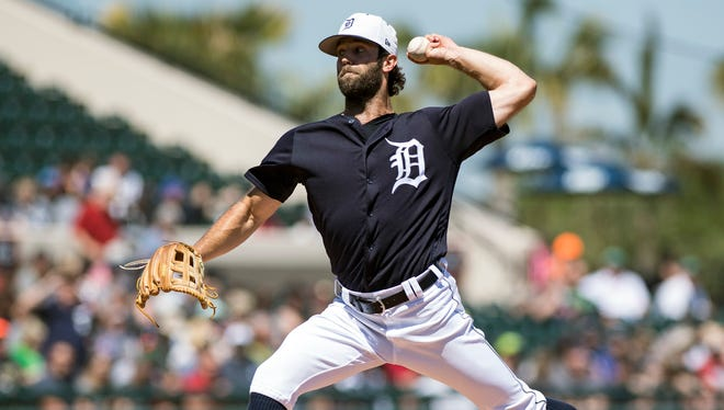 Tigers pitcher Daniel Norris (44) throws a pitch in the first inning at Publix Field at Joker Marchant Stadium on Friday, March 16, 2018.