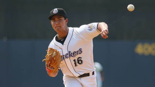 Milwaukee Brewers minor-league pitcher Kodi Medeiros hit a grand slam for his first career hit on Monday night.