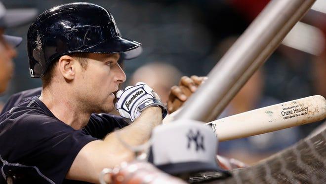 New York Yankees' Chase Headley waits his turn during batting practice prior to a baseball game against the Arizona Diamondbacks Monday, May 16, 2016, in Phoenix.