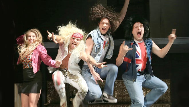 """Cast members from """"Disney's Camp Rock,"""" playing Aug. 5 and 6, and """"Rock of Ages,"""" playing now through Aug. 7, performed before and after Dionysos Award presentations Sunday at the Des Moines Community Playhouse."""