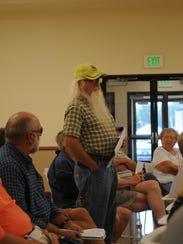 Kent Haynes of Possum Point expresses his concerns