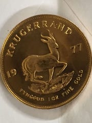 The back of the 1-ounce gold South African Krugerrand left in a Salvation Army Red Kettle at Festival Foods East in Green Bay on Monday night, Dec. 7.
