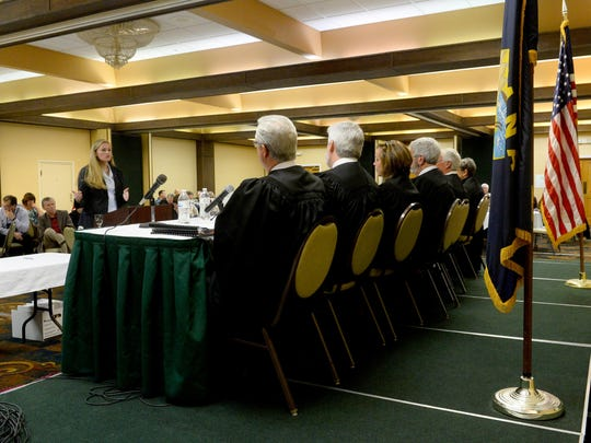 Rachel Meredith, an attorney with Bloomquist Law Firm in Helena, represents the South Phillips County Water Users Group in oral arguments before of the Montana Supreme Court on Friday at the Holiday Inn. The Supreme Court heard oral arguments in the case of the BLM v. South Phillips County Water Users Group in Great Falls as part of the State Bar of Montana's annual meeting.