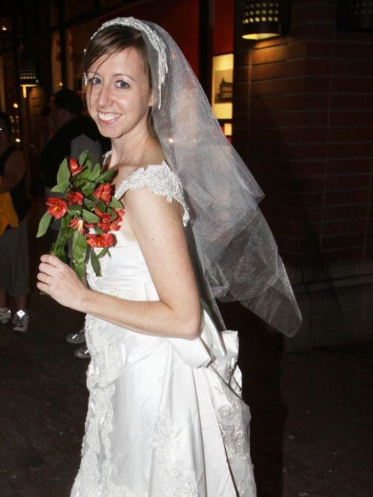 Maura Rynn 31 Of Mesa Wears A Dress She Got Off Craigslist For The Brides March In Downtown Tempe 2009 Photo Emily Piraino Special
