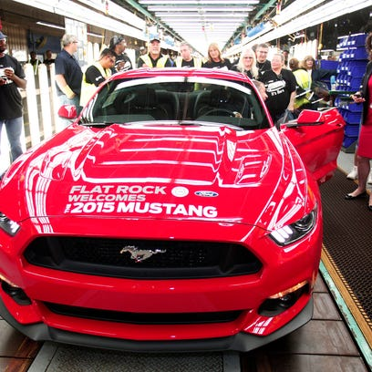 The first production 2015 Ford Mustang sits waiting