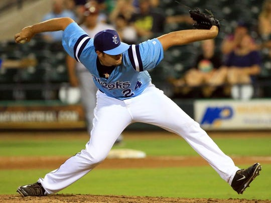 GABE HERNANDEZ/CALLER-TIMES The Hooks' Ryan Thompson pitches against Frisco on Thursday at Whataburger Field in Corpus Christi.