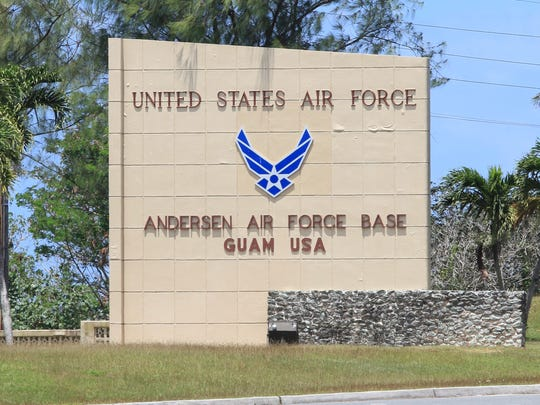 A sign at the front gate to Andersen Air Force Base is shown in this March 25, 2015, file photo. A second veteran has come forward to say Agent Orange was used on the base in the Vietnam War era.