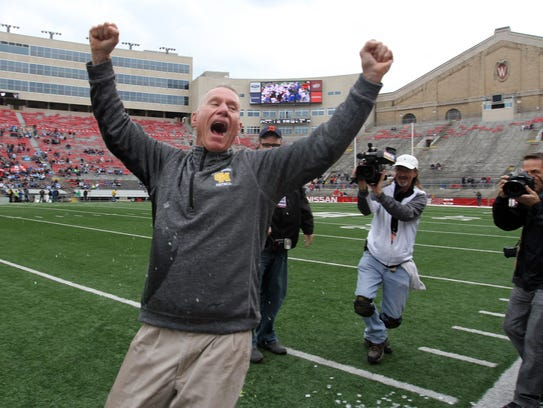 Catholic Memorial head coach Bill Young celebrates