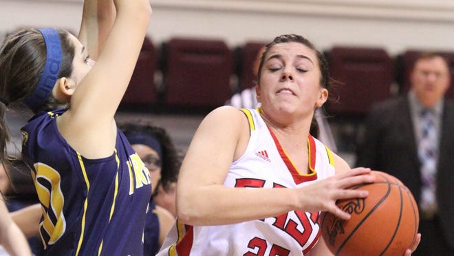 Mackenzie Bass (25) is seen in action  for Bullitt East during the quarterfinal between Franklin County and Bullitt East of the 42nd annual girls L.I.T. at Bellarmine. January 31, 2014