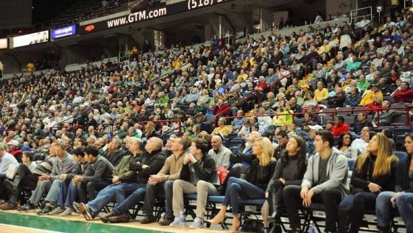 The crowd at the Times Union Center in Albany, N.Y. earlier this month for a Siena game. The Tims Union Center hosts the MAAC Tournament next month.