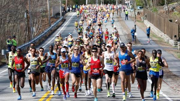 The elite men lead the field in the 2017 Boston Marathon on Monday.