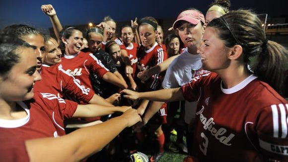 The Penfield girls soccer team during a game Sept. 10 against Webster Schroeder.