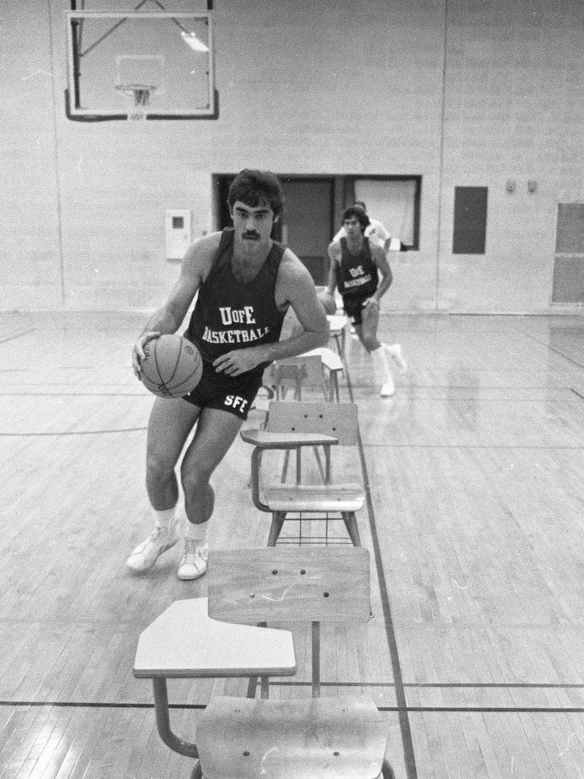 Bryan Taylor, a member of the University of Evansville's Purple Aces men's basketball team and a Tell City High School standout, participates in a team drill in October of 1977. The team was killed in a plane crash on Dec. 13, 1977. The gym in Tell City is now named for Taylor.