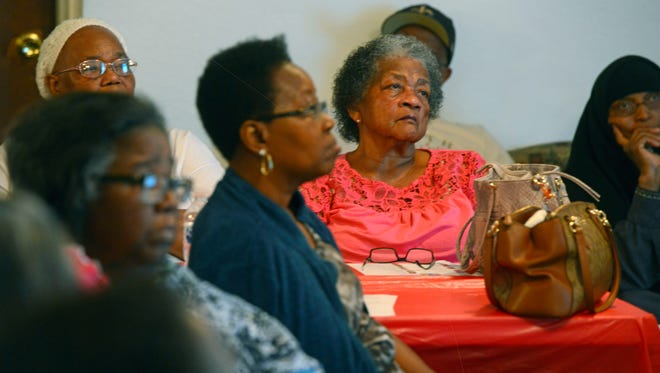 Residents gather to listen to Dr. Robert Bullard, Professor of Urban Planning and Envirionmental Science at Texas Southern Univresity and Dr. Beverly Wright, Executive Director, Deep South Center for Environmental Justice, Inc. speak Saturday, August 12, 2017 during the Unity In The Family Ministry Environmental Justice Forum at All Faith Community Church.