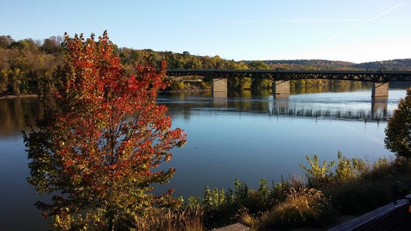 A beautiful view of the Susquehanna from the John Barleycorn deck in downtown Owego.