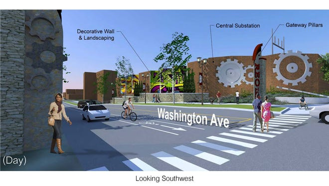 View of proposed gears and welcome tiers visible from Washington Avenue.