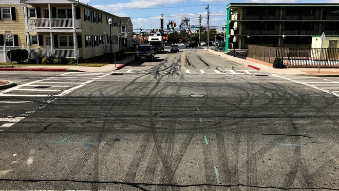 Burnout remnants left behind on 30th Street in Ocean City, Md. after the H2Oi attendee's have left. Tuesday, Oct. 3, 2017.
