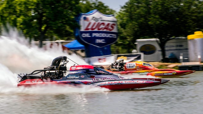 "Top Fuel Hydro drag boat ""Nitrochondriac"" speeds down the track at over 250 mph during Showdown in San Angelo on June 24, 2017 at Lalke Nasworthy."